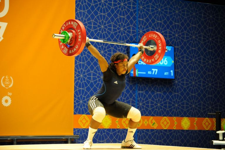 Cameroonian athlete Arcangeline Fouodji Sonkdou attempts 77kg in the women's weightlifting (+90kg category) on 15 May. Photo: Eldar Farzaliyev