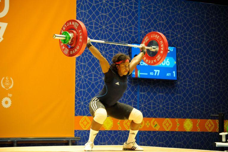 Cameroonian athlete Arcangeline Fouodji Sonkdou attempts 77kg in the women's weightlifting (+90kg category) on 15 May. Photo: Eldar Farzaliyev