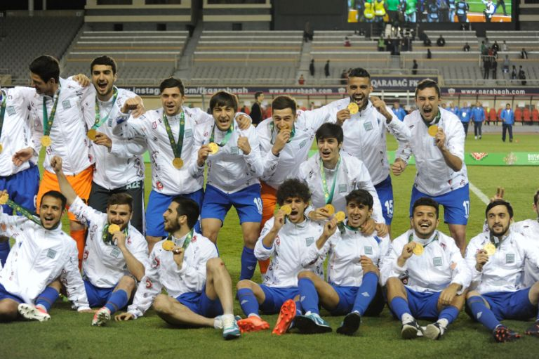 The Azerbaijani U23 football team emerge victorious against Oman in the final of the football on 21 May