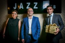 Kamilla, Rufat and Anar welcome guests to the Jazz Club