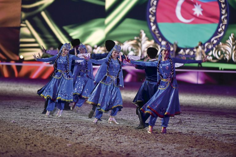 The majesty of the Karabakh Horses was complemented by a troupe of vibrant dancers from the Fikret Amirov State Song and Dance Ensemble. Photo: Kit Houghton/The Queen's 90th Birthday Celebration
