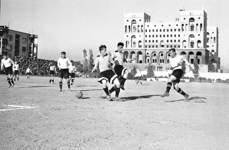 Neftchi v Torpedo Stalingrad in the USSR championship at the Dinamo stadium, which used to be where the Hilton hotel is now. 29 September 1949