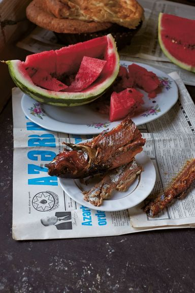 Watermelon, fish and tandir bread. Photo: courtesy of Olia Hercules