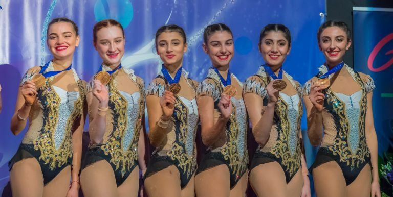 The senior team that came third in the all around competition at the Grand Prix de Thiais, France. March 2018. Photo: courtesy of Mariana Vasileva