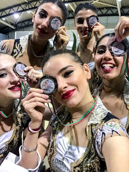 The senior team after coming third in the all around competition at the World Championships in Portimao, Portugal. Photo: courtesy of Mariana Vasileva