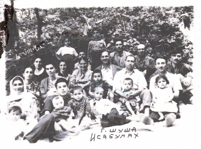 The author's great-grandfather, Isa Ismailov, and great-grandmother, Siddiga Afandiyeva, are pictured here in the centre in Shusha