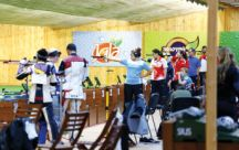 Women's pistol shooters in action in Qabala