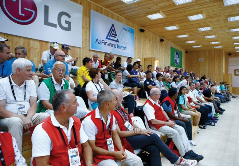 Spectators at the indoor shooting range in Qabala