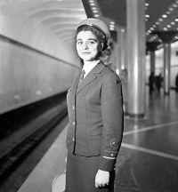 An on-duty Baku Metro dispatcher. March 1969. Photo: Azertaj