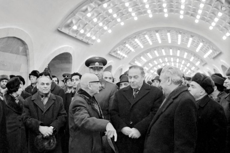 Then First Secretary of the Communist Party of Azerbaijan Heydar Aliyev at the opening of Nizami station on 31 December 1976. Photo: Azertaj