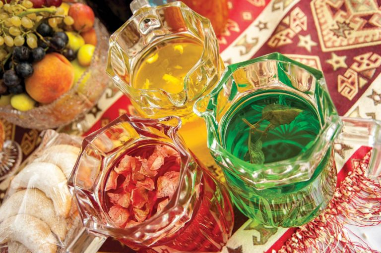 Rose (red), saffron (yellow) and white basil (green) syrups from the Ganja region