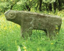 Ancient stone ram in a graveyard outside Lerik