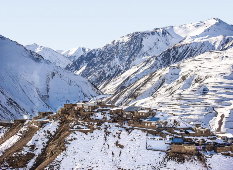 Winter view of Khinaliq